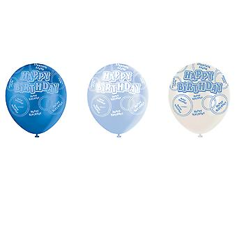 SALE - 6 Blue Glitz Pearlized Latex Balloons - Happy Birthday