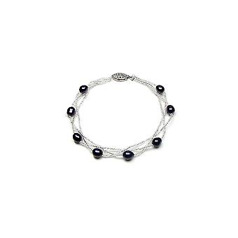 Bracelet twist woman in Silver 925 and cultured black pearls