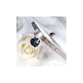 Accessoire Bijoux SmartPhone Coeur en Cristal de Swarovski Elements Bleu