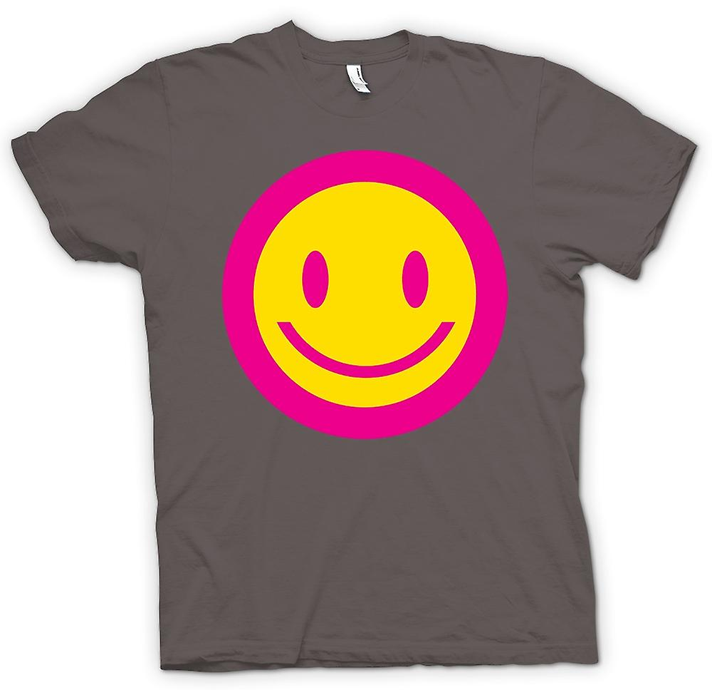 Womens T-shirt - Pink Smiley Face - Acid Kids