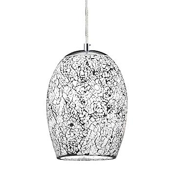 Searchlight 8069WH Crackle 1 Light White Mosaic Glass Pendant
