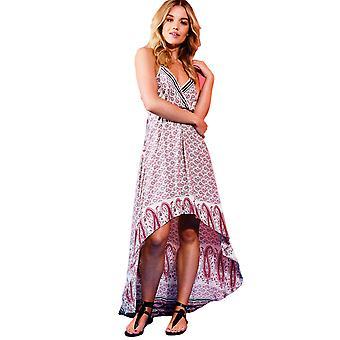 Danity gedruckten Dip Saum Maxi-Kleid mit Neckholder In Pink