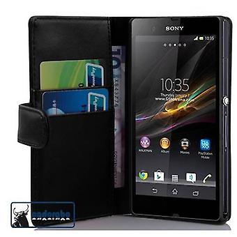 Cadorabo Hülle für Sony Xperia Z (1. Gen.) Case Cover - Handyhülle aus glattem Kunstleder mit Standfunktion und Kartenfach – Case Cover Schutzhülle Etui Tasche Book Klapp Style