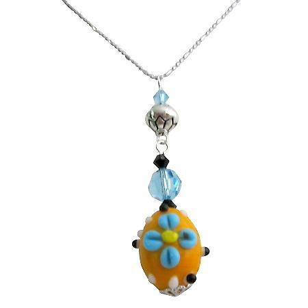 Unique Gift Artisan Creation Swarovski Crystals Lampwork Bead