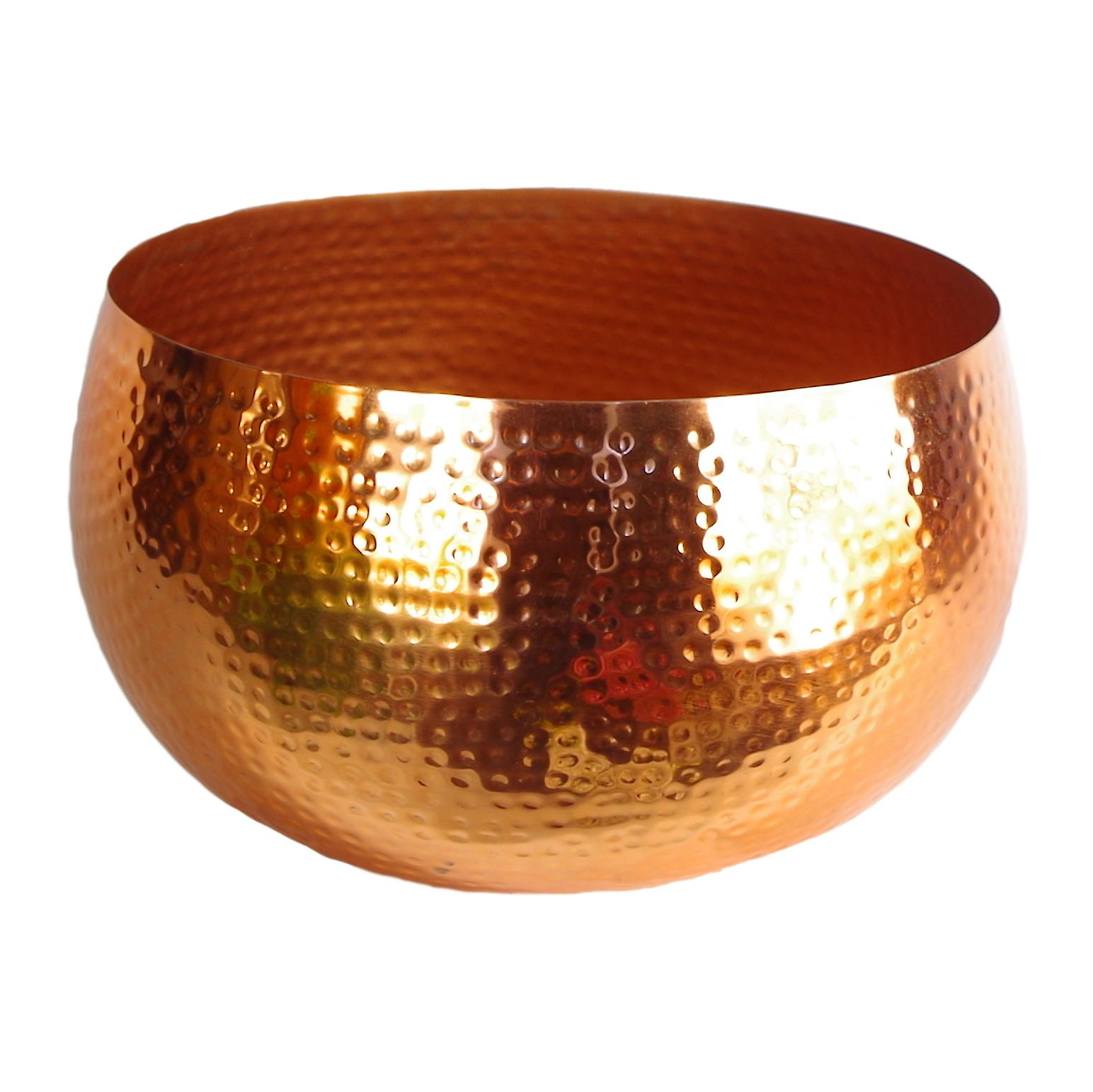 XL Metal bowl 32 x 20cm Hammered Copper Colour - Straight Edge