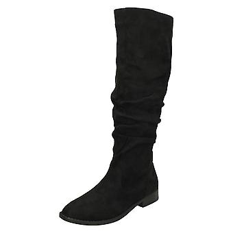 Ladies Spot On Knee High Boots F4419