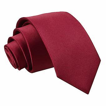 Burgund-Plain Satin Slim Krawatte