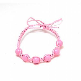 The Olivia Collection Pink Cotton Friendship Bracelet with Pink Beads
