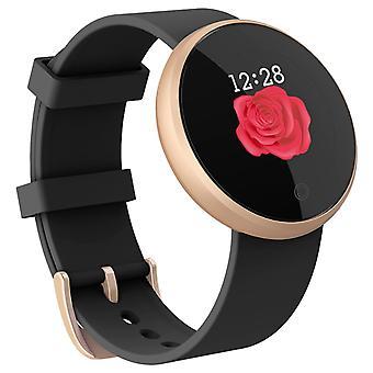 Relógio de pulso impermeável esperto, tela de toque, silicone-preto