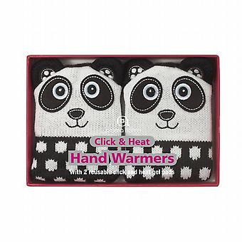 Click & Heat Knitted Cover Gel Hand Warmers: Panda (Pair)