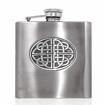 6oz STAINLESS FLASK WITH CELTIC DISK - CEL855