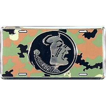 Florida State Seminoles NCAA Camo Logo License Plate