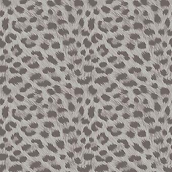 Decoración de animales de la impresión de la nieve del leopardo de la piel efecto Wallpaper plata gris metálico