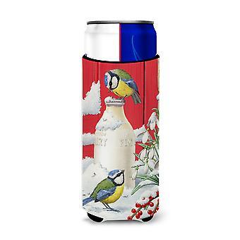 Eurasian Blue Tits Birds & Milk Bottles Ultra Beverage Insulators for slim cans