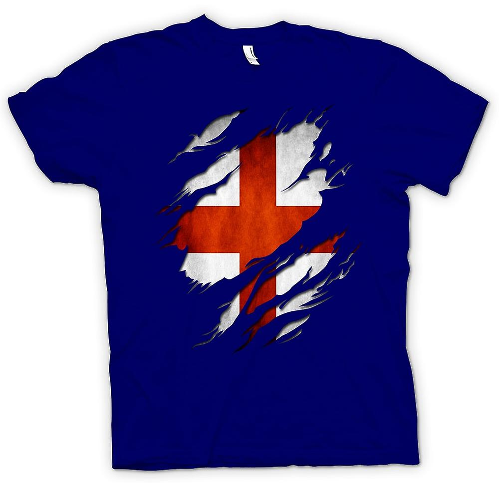 Heren T-shirt-St Georges Engels vlag geript Effect