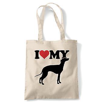 Jeg elsker min Greyhound tote | Hund gave pels baby lover ejer Mans bedste ven | Genanvendelige shopping bomuld lærred længe håndteret naturlig shopper øko-venlige mode