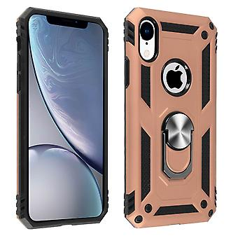 Apple iPhone XR Case Bi Material Rigid Soft Magnetic Ring Stand Rose gold