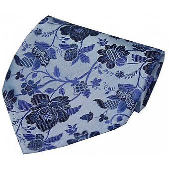 David Van Hagen lenço de seda de padrão Floral - azul céu
