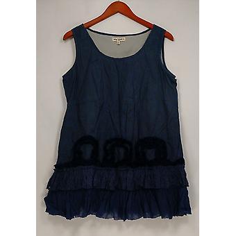 Indigo thread co. Top afgedrukt geweven w/Lace tuniek Indigo blauw A430823
