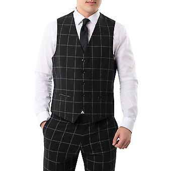 Dobell Mens Black Waistcoat Regular Fit White Windowpane Check