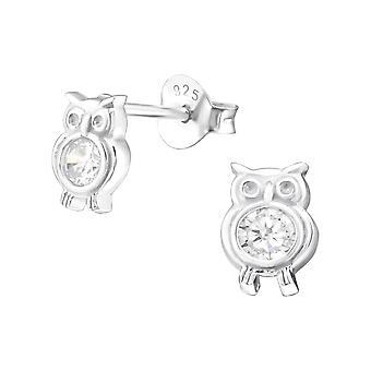 Ugle - 925 Sterling sølv Cubic Zirconia øret knopper - W21999X