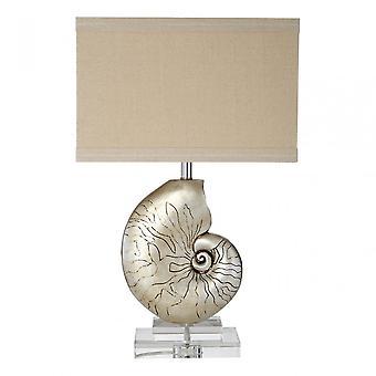 Premier Home Shelley Table Lamp - EU Plug, Crystal, Linen, Polystone, Natural