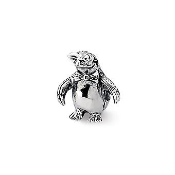 925 Sterling Silver Polished Antique finish Reflections Penguin Bead Charm