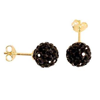 örhängen Gold Plated .925 Sterling Silver Black Micro Pave 8mm Crystal Ball Apocope