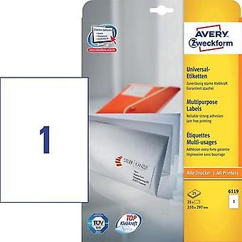 Avery-Zweckform 6119 Labels (A4) 210 x 297 mm Paper White 25 pc(s) Permanent All-purpose labels Inkjet, Laser, Copier