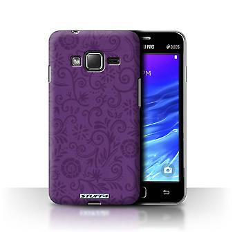 STUFF4 Case/Cover for Samsung Z1/Z130/Purple Flower/Floral Swirl Pattern