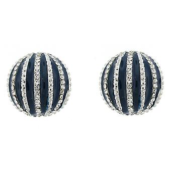 Clip On Earrings Store Navy Blue Enamel and Crystal Half Ball Clip On Earrings