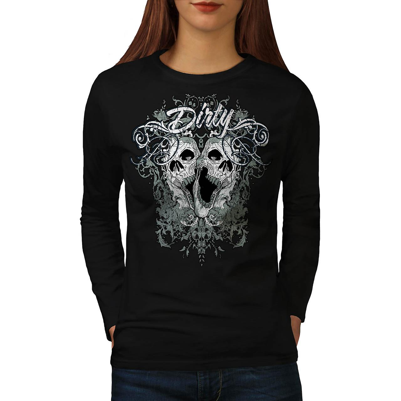 Dirty Evil Grave Yard Dead Skull Women Black Long Sleeve T-shirt | Wellcoda