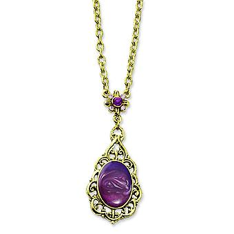 Brass-tone Purple Crystal and Enamel 16inch With Ext Necklace