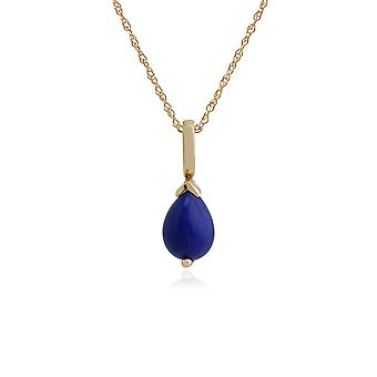 Gemondo 9ct Yellow Gold 0.74ct Pear Lapis Lazuli Pendant on 45cm Chain