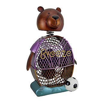Deco Breeze Soccer Bear Decorative Metal Figurine Fan 13 in.