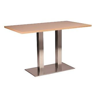 Daniella Stainless Steel Dining Table - Twin Base Rectangular With Various Top Sizes And Colours