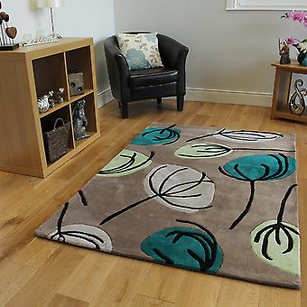 Contemporary Teal Floral Modern Rug Atlanta