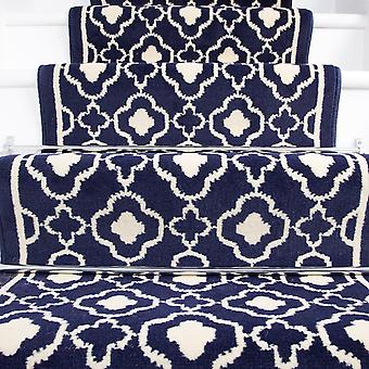 50cm Width - Contemporary Navy Blue Trellis Stair Carpet