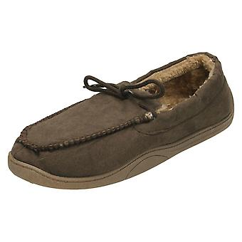 Mens Spot On Moccasin Faux Fur Lined Slippers Style 577453