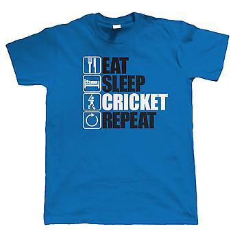 Eten slaap Cricket herhalen, Mens grappig, Scores T Shirt
