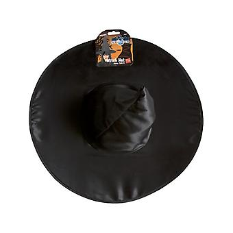 Hat witch black shiny cloth wire frame