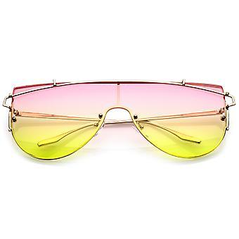 Futuristische naadloze metalen dwarsbalk verloop gekleurde Mono Lens Shield zonnebril 61mm