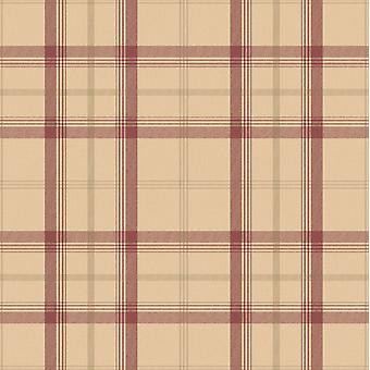Plaid tapet Tartan ternet klassiske Cambridge røde Beige guld Fine Decor