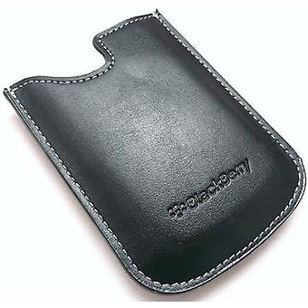 Genuine BlackBerry Black Leather Pocket Case Pouch - Suitable For BlackBerry 8300, 8310, 8320, 8520 Curve, 8900 Curve, 9300 Curve 3G, 9330, 9700 Bold, 9780 Bold, 9800 Torch, 9650 Bold, 9500 Storm, 9530 Storm, 9520 Storm2, 9550 Storm2, 9630 - HDW-14090-002 (Bulk Packed)