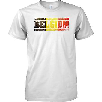 Efecto de bandera de Bélgica Grunge país nombre - niños T Shirt