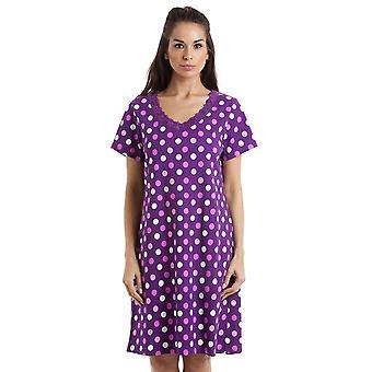 Ночная рубашка темный фиолетовый хлопок горошек разноцветные Камиль