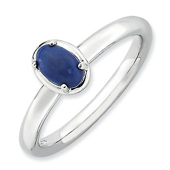 2.25mm Sterling Silver Stackable Expressions Lapis Polished Ring - Ring Size: 5 to 10