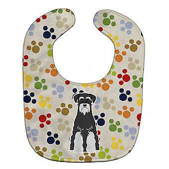 Pawprints Standard Schnauzer Salt and Pepper Baby Bib