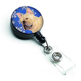 French Bulldog Winter Snowflakes Holiday Retractable Badge Reel