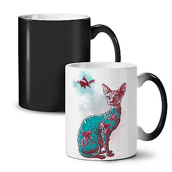 Cat Fish Art Cool NEW Black Colour Changing Tea Coffee Ceramic Mug 11 oz | Wellcoda